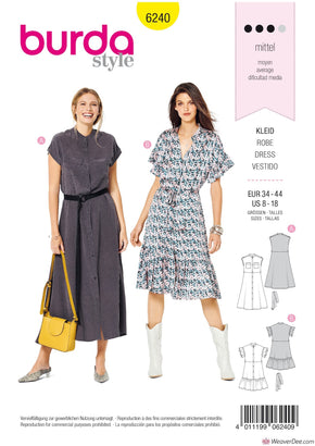 Burda Pattern BD6240 Misses' Dress with Button Fastening –  Stand Collar – Frills