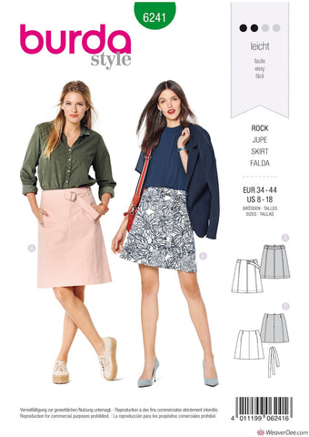 Burda Pattern BD6241 Misses' Skirt – Flared Skirt –  without Waistband – with Belt