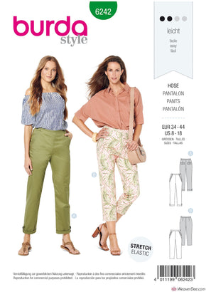 Burda Pattern BD6242 Misses' Trousers/Pants with Side Zip Fastening  –   Hip Yoke Pockets – Turn-ups