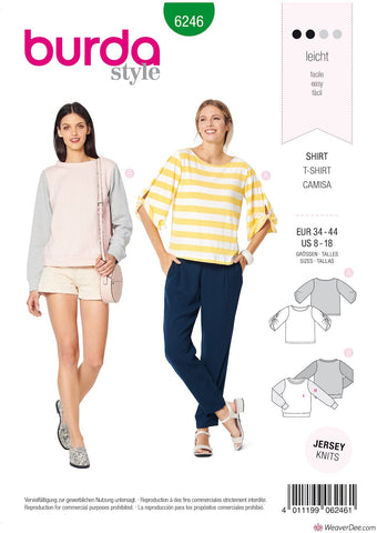 Burda Pattern BD6246 Misses' Top – Sweatshirt