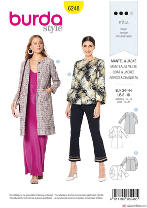 Burda Pattern BD6248 Misses' Coat & Jacket – Collarless