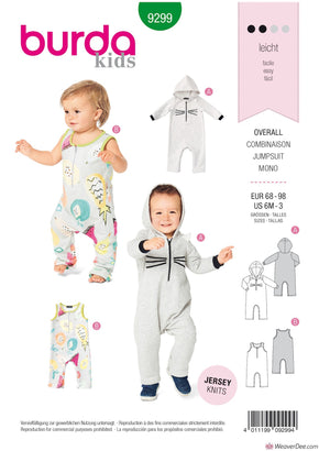 Burda Pattern BD9299 Toddlers' Overalls