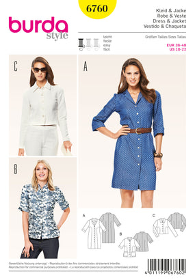 Burda - BD6760 Misses Dress & Jackets - WeaverDee.com Sewing & Crafts - 1