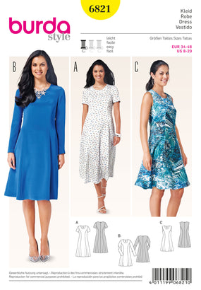 Burda - BD6821 Misses Dress | Easy - WeaverDee.com Sewing & Crafts - 1