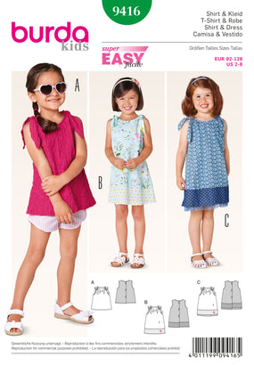 Burda - BD9416 Girls' Summer Dress & Top | Easy - WeaverDee.com Sewing & Crafts - 1