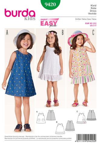 Burda - BD9420 Toddler Dress | Easy - WeaverDee.com Sewing & Crafts - 1