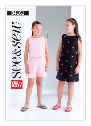 Butterick Pattern B4161 Girls'/Girls' Plus Back-Keyhole Top, Dress & Shorts | See & Sew