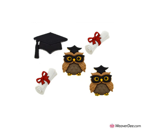 Dress It Up® Embellishment Buttons - Graduation Owls