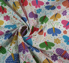Poly Cotton Fabric - Dotty Butterfly