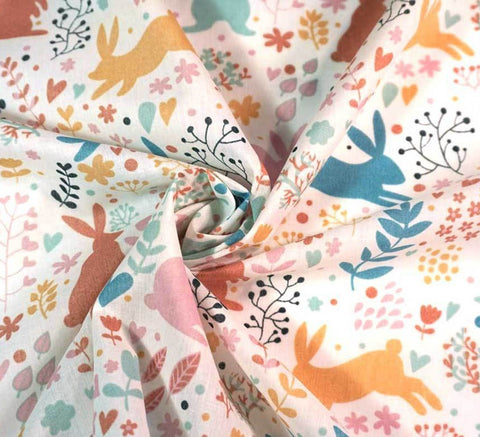 Poly Cotton Fabric - Forest Bunnies