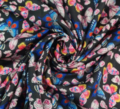 Butterfly Silky Satin Fabric / Black