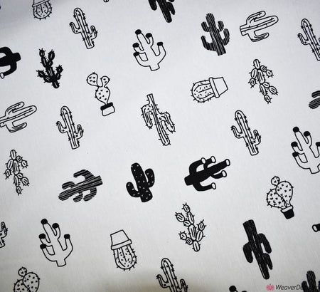 Cactus Print Canvas Fabric