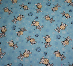 Poly Cotton Fabric - Cartoon Zebra Blue