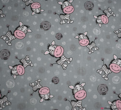 Poly Cotton Fabric - Cartoon Zebra Silver