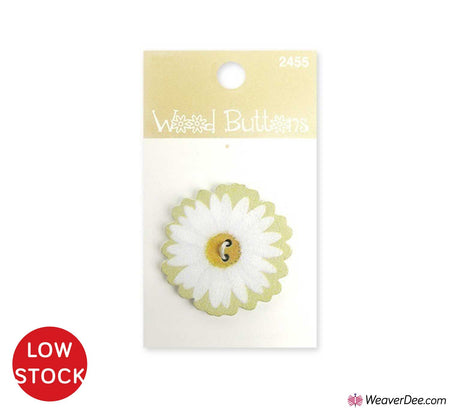 White Daisy Large Wood Button • Organic Elements