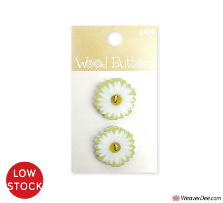 White Daisy Small Wood Buttons • Organic Elements