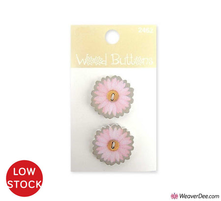 Pink Daisy Small Wood Buttons • Organic Elements