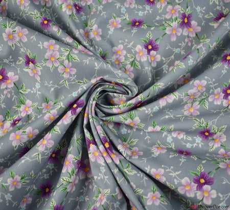 Rose & Hubble Cotton Poplin Fabric - Celia Silver / Grey