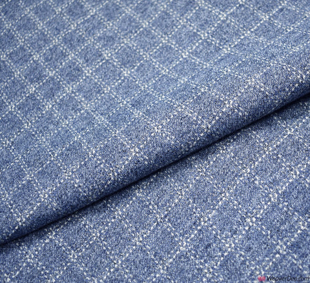 Blue Check Jersey Fabric