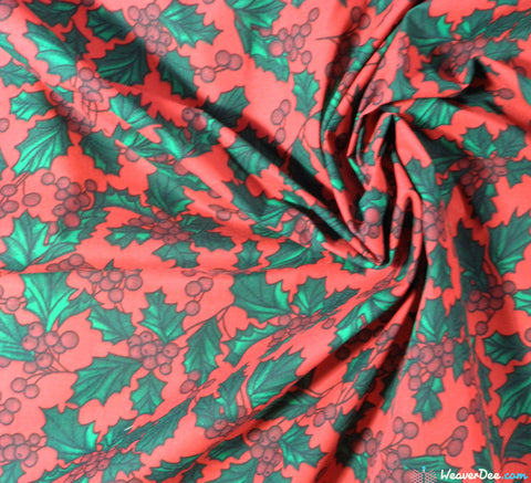 WeaverDee - Poly Cotton Fabric - Christmas Holly Red - WeaverDee.com Sewing & Crafts - 1