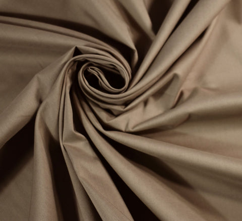 Cotton Sateen Lawn Fabric / Taupe