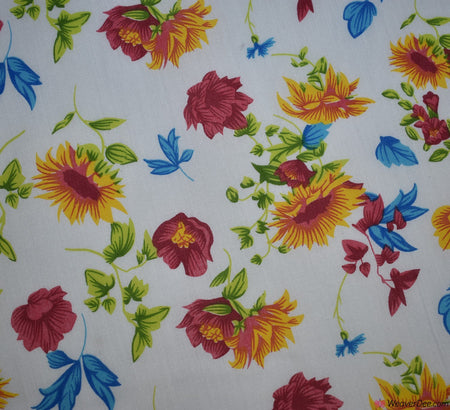 Poly Cotton Fabric - Country Floral / White