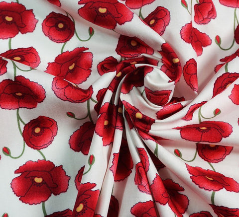 Rose & Hubble Cotton Poplin Fabric - Ivory Poppy Field