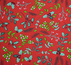 Poly Cotton Fabric - Festive Dainty Holly / Red