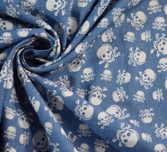 Skulls Light Blue 4 oz Denim Chambray Fabric