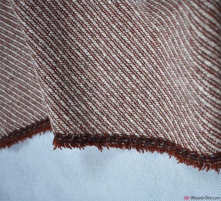Diagonal Wool Blend Fabric - Rust