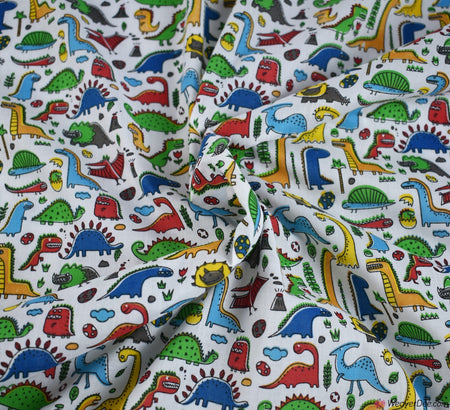 Poly Cotton Fabric - Dino World White