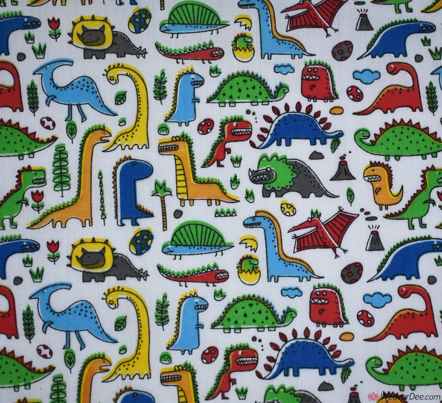 Dino Dinosaur Colouring Fabric Cotton Fabric Dressmaking Quilting