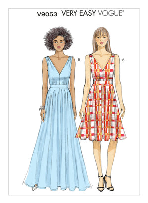 Vogue Pattern V9053 Misses' Deep-V Dresses