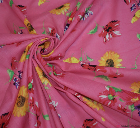 Drifting Petals Pink Cotton Lawn Fabric
