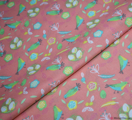 Cotton Craft Company Fabric - Easter Bird Nest Coral