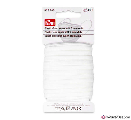 PRYM Elastic Tape Super Soft - 5mm x 15m Card - White
