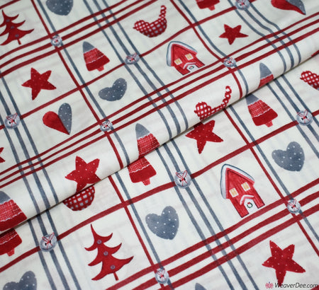 Rose & Hubble Cotton Fabric - Festive Plaid