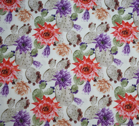 Little Johnny Digital Print Cotton Fabric - Floral Cactus