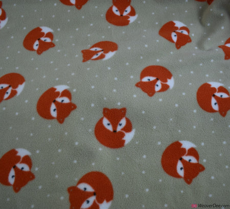 Polar Fleece Fabric - Foxes Beige