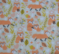 Poly Cotton Fabric - Fox Family Cream