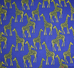 Premier Print Poly Cotton Fabric - Giraffe Navy Blue