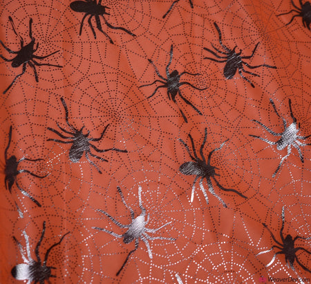 Halloween Foil Fabric - Orange / Silver Spider Web