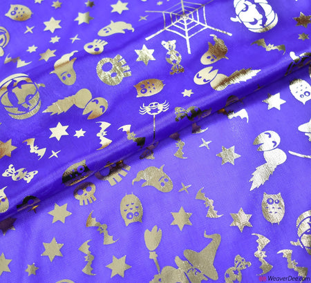 Halloween Foil Fabric - Purple / Gold Witch