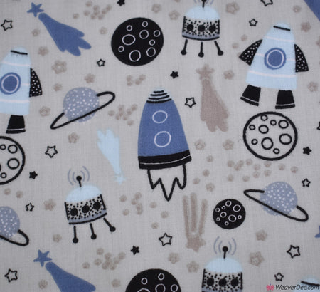 Poly Cotton Fabric - Into Space - Silver