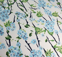 Japanese Blossom Blue Stretch Sateen Fabric