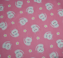 Poly Cotton Fabric - Kitty Cutie Pink