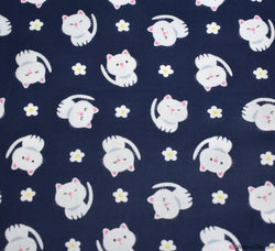 Poly Cotton Fabric - Kitty Cutie Navy