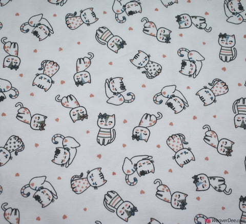 John Louden Cotton Jersey Fabric - Kitty Love