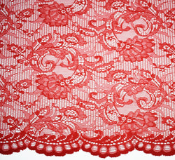 Elisabelle Scolloped Edge Red Lace Fabric
