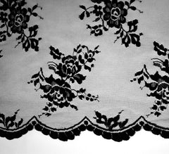 Victoria Scolloped Edge Black Lace Fabric